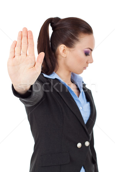Stock photo: talk to the hand gesture