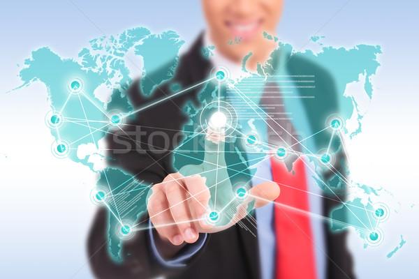 Glimlachend zakenman wereldwijd voortvarend Stockfoto © feedough