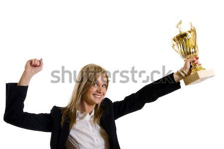 Porträt Geschäftsfrau halten Trophäe nachschlagen Stock foto © feedough