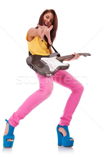 Rock rollen baby foto meisje spelen Stockfoto © feedough