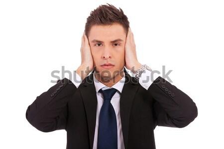 Hall nem gonosz nő fülek izolált Stock fotó © feedough