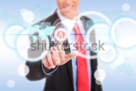 Zdjęcia stock: Popychanie · cyfrowe · przycisk · ekran · dotykowy · interfejs · człowiek · biznesu