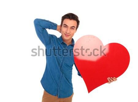 Mosolyog lezser férfi áll kezek szerető Stock fotó © feedough