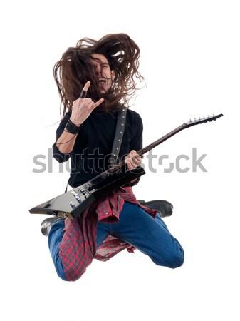 страстный гитарист играет фотография электрической гитаре Сток-фото © feedough