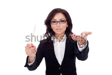 Homme d'affaires poussant imaginaire bouton souriant pensive Photo stock © feedough