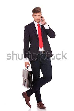 üzletember lábak keresztbe teljes alakos kép fiatal áll Stock fotó © feedough