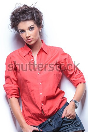 casual young woman stares at you Stock photo © feedough