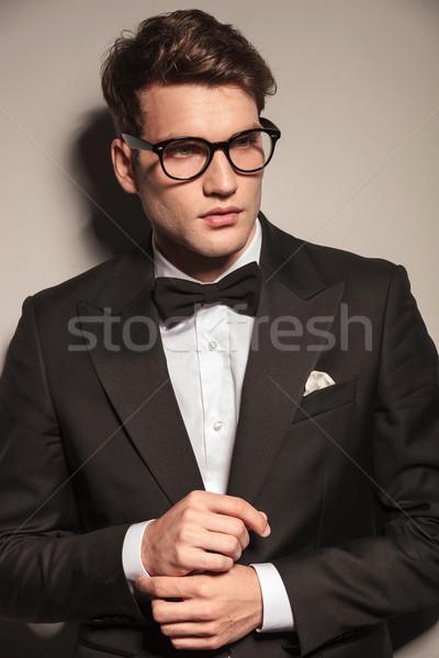 Zdjęcia stock: Człowiek · biznesu · rękaw · portret · przystojny