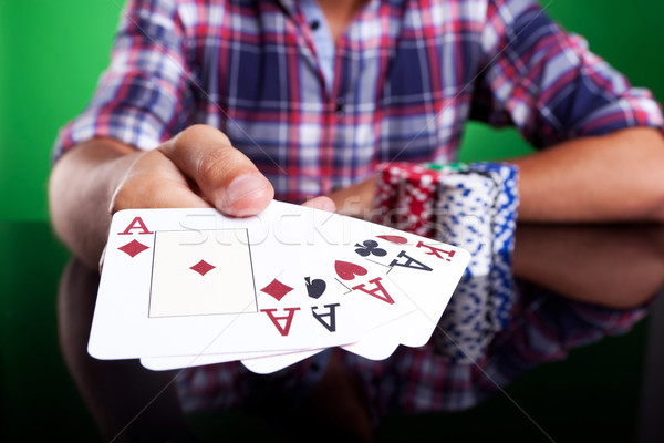 Cropped image of a winning four aces poker hand Stock photo © feedough
