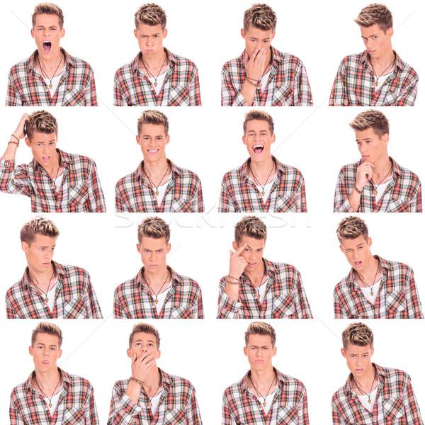 Jeune homme visage expressions collage jeunes Photo stock © feedough