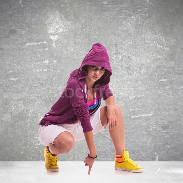 woman dancer wearing a hoodie Stock photo © feedough