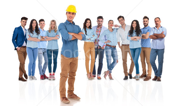 confident engineer team leader standing in front of his group Stock photo © feedough