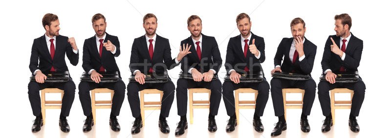 different poses of  young buinessman waiting for a job interview Stock photo © feedough