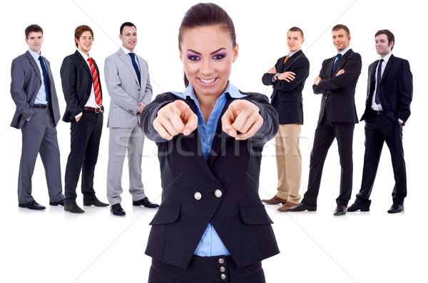 Choisir équipe femme d'affaires pointant affaires Photo stock © feedough