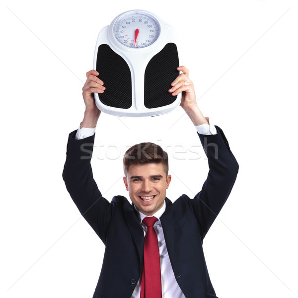 happy businessman succeeds in losing weight Stock photo © feedough