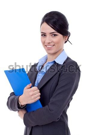 Сток-фото: улыбаясь · деловой · женщины · синий · буфер · обмена · портрет · счастливым