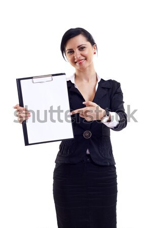 Сток-фото: деловой · женщины · столе · белый · бизнеса · женщину · улыбка