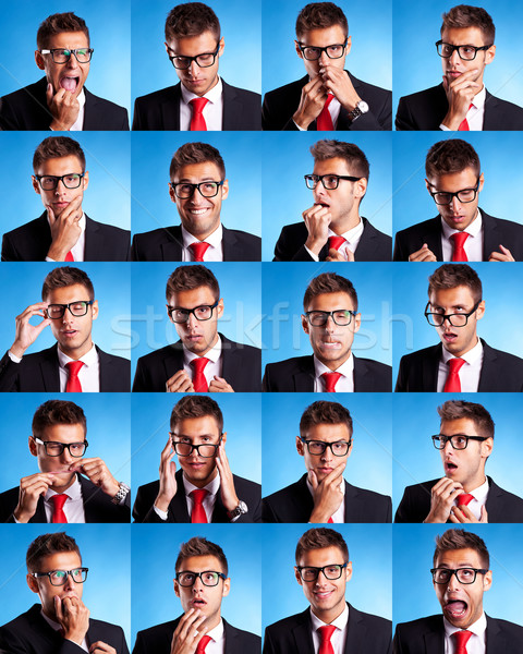 Wiele człowiek biznesu mimiki kolaż grupy zdjęcie Zdjęcia stock © feedough