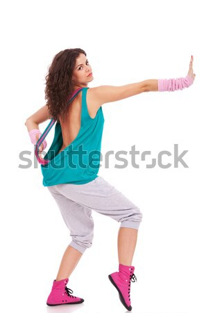 Nő táncos kéz nyújtott oldalnézet modern Stock fotó © feedough