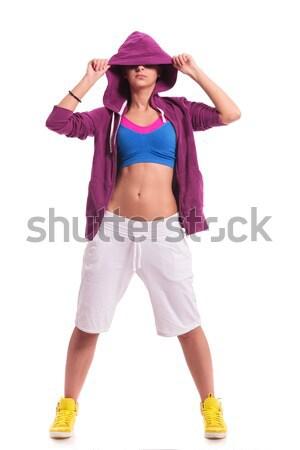 woman dancer hiding eyes with hoodie Stock photo © feedough