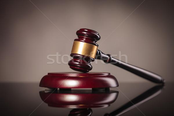 judge gavel on grey studio background Stock photo © feedough