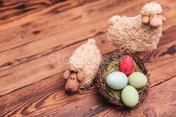 Húsvét játék birka kosárnyi tojás régi fa szeretet Stock fotó © feedough