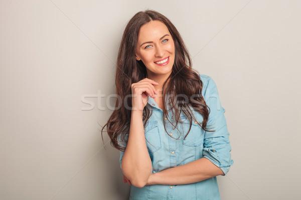 Mujer hermosa ojos azules gris estudio mujer Foto stock © feedough