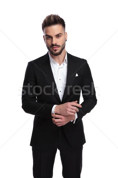 Szexi modern férfi öltöny nyitva megjavít Stock fotó © feedough