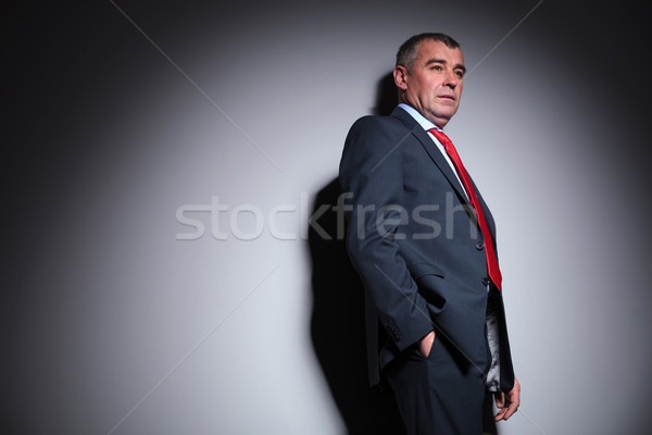 Middle aged business man holding his hand in pocket. Stock photo © feedough