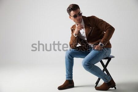 молодым человеком один стороны подбородок Сток-фото © feedough