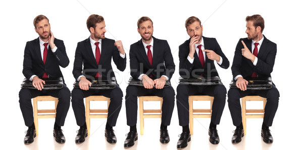 5 poses of a businessman talking to himself while waiting Stock photo © feedough