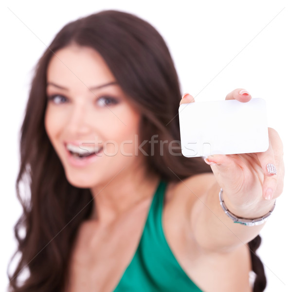 female holding credit card Stock photo © feedough