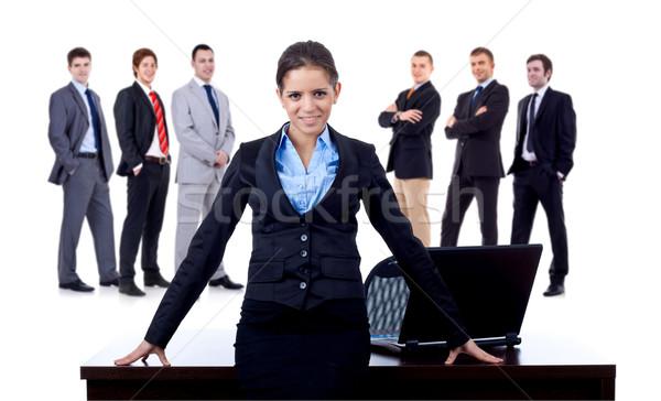 Сток-фото: деловой · женщины · команда · столе · за · белый · бизнеса