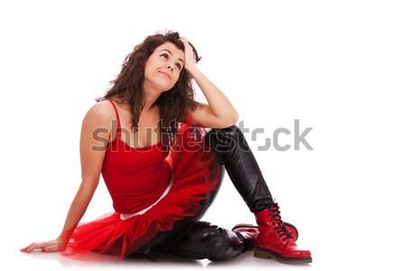 балерины полу глядя задумчивый фотография современных Сток-фото © feedough