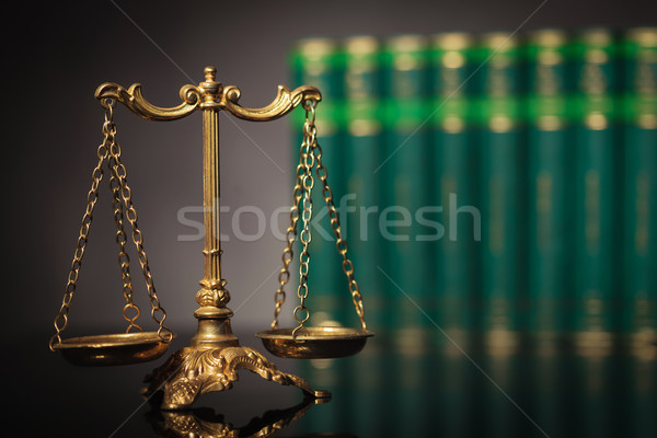 antique golden scale in front of a row of law books Stock photo © feedough
