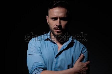 Portret toevallig man denim shirt Stockfoto © feedough