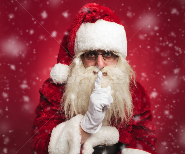 santa claus making the quiet gesture Stock photo © feedough