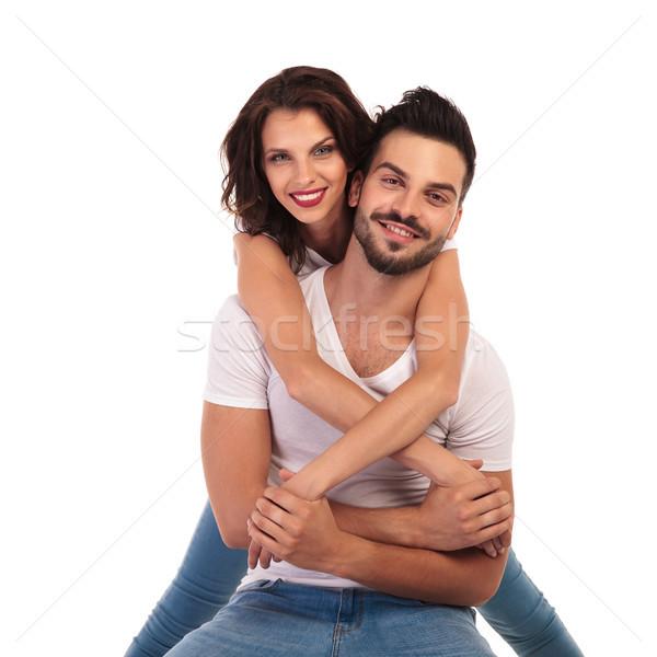 случайный женщину за сидящий человека улыбаясь Сток-фото © feedough