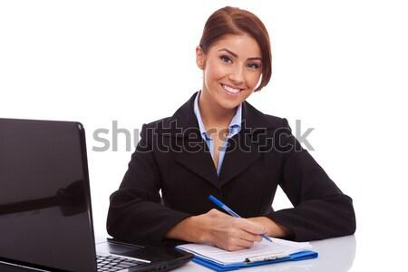 Сток-фото: деловой · женщины · столе · Дать · молодые · что-то · служба