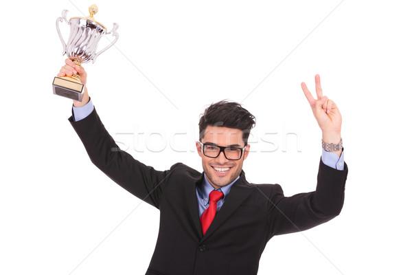 Сток-фото: человека · Кубок · победу · знак · молодые · деловой · человек