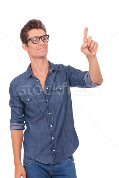 男 プッシング 虚数 ボタン カジュアル 若い男 ストックフォト © feedough