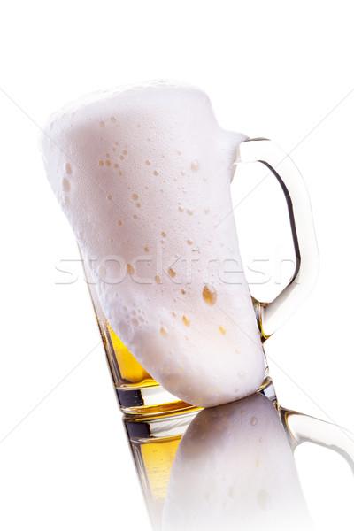 Kupa bira köpük yansıma beyaz cam Stok fotoğraf © feedough
