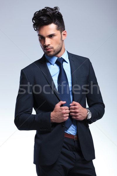 üzletember külső messze tart fiatal másfelé néz Stock fotó © feedough