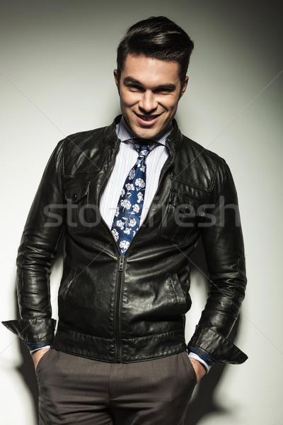 ビジネスマン 両方 手 ポケット 幸せ ストックフォト © feedough