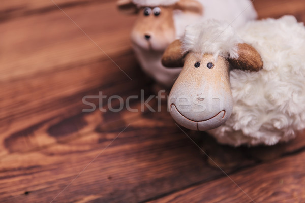 カップル 白 羊 古い木材 愛 木材 ストックフォト © feedough