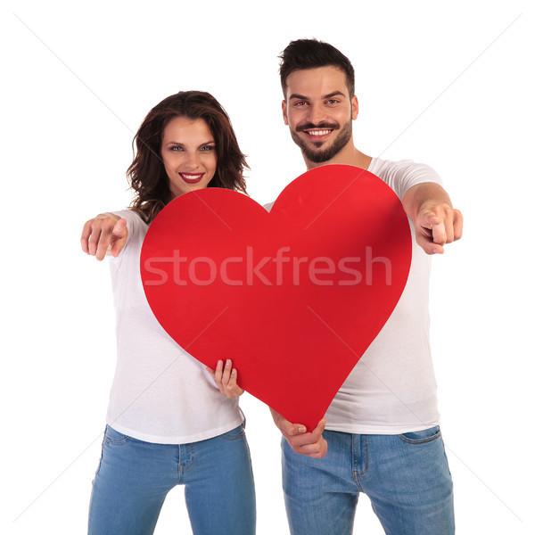 Zdjęcia stock: Miłości · para · wskazując · palce · serca