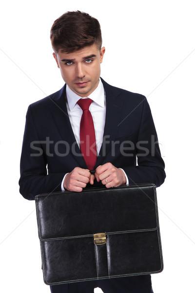 Sexy бизнесмен портфель оба рук Сток-фото © feedough