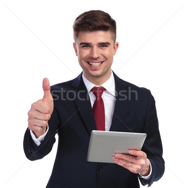 Stockfoto: Glimlachend · zakenman · tablet