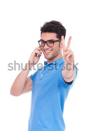 Genç gündelik adam kötü haber telefon beyaz Stok fotoğraf © feedough