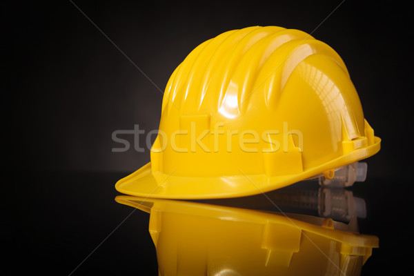 Sarı kask siyah tablo stüdyo Stok fotoğraf © feedough